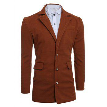 Single Breasted Slimming Lapel Woolen Coat