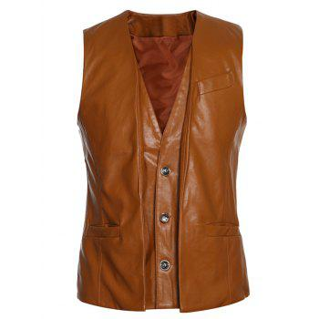 Faux Twinset Single-Breasted V-Neck PU-Leather Wasitcoat