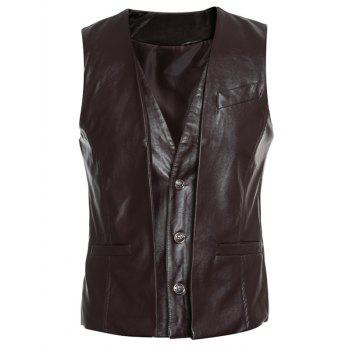Faux Twinset single-breasted col en V PU-cuir Wasitcoat