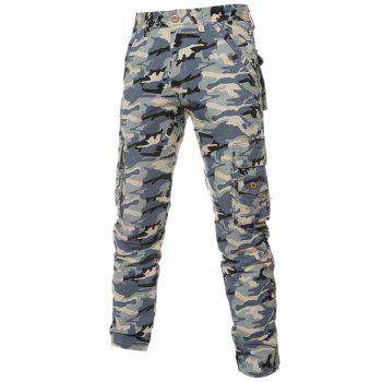 Zipper Fly Pockets Camouflage Pattern Cargo Pants