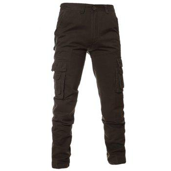 Zipper Fly Simple Pockets Cargo Pants
