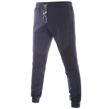 Color Block Spliced Beading Lace-Up Jogger Pants