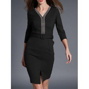 3/4 Sleeve V Neck Pencil Dress