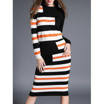 Color Block Sweater Two Piece Dress