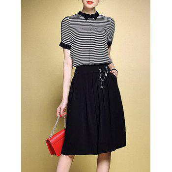 Stripe T-Shirt and Elastic Waist Culotte Shorts Twinset