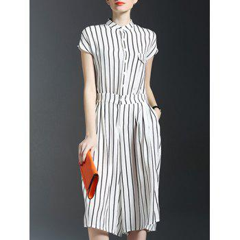 Pockets Vertical Striped Jumpsuit