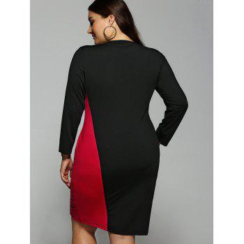 Color Block  Long Sleeve Plus SizeDress - RED XL