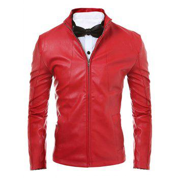 Zip Up Stand Collar Faux Leather Jacket