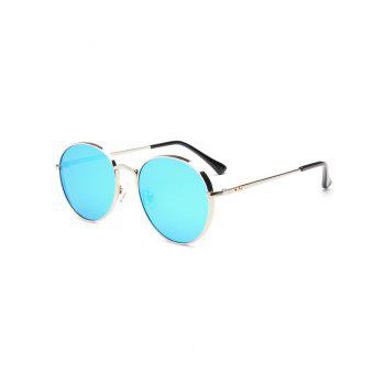 Hipsters Chunky Metal Oval Mirrored Sunglasses