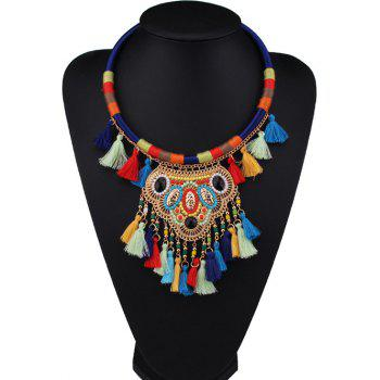 Faux Gem Beaded Multi Color Fringe Necklace