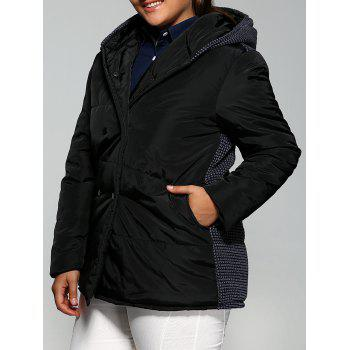 Plus Size Double-Breasted Knit-Insert Hooded Coat