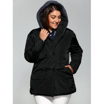 Plus Size Double-Breasted Knit-Insert Hooded Coat - BLACK XL