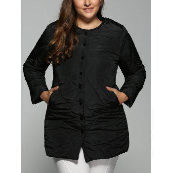 Plus Size Topstitched Pocket Design Coat