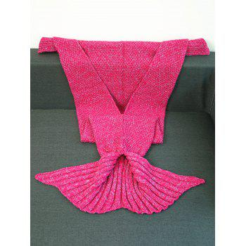 High Quality Crochet Knitted Mermaid Tail Blanket - ROSE RED W31.50INCH*L70.70INCH