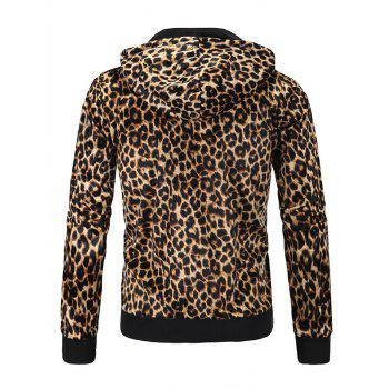 Leopard Print Zip Up Long Sleeve Hoodie - GOLDEN 2XL