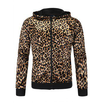 Leopard Print Zip Up Long Sleeve Hoodie