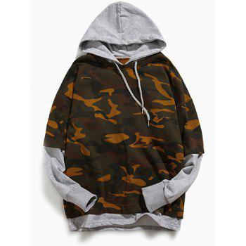 Long Sleeve Camouflage Pattern Faux Twinset Hoodie