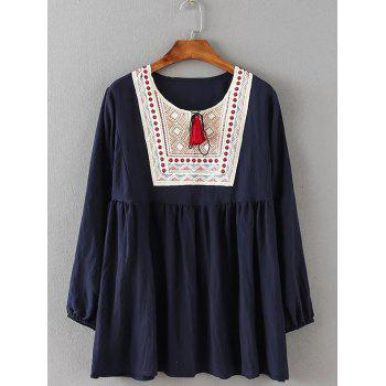 Tribal Embroidered Tasseled Flounced Blouse