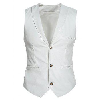 Slim Fit Shawl Collar Faux Leather Vest