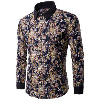 Long Sleeve Contrast Collar Paisley Printed Shirt
