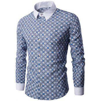 Long Sleeve Contrast Collar Vintage Printed Shirt