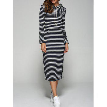Hooded Striped Pocket Design Dress