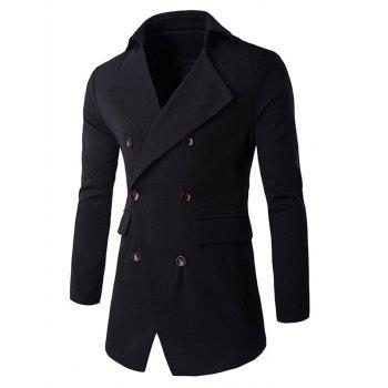 Slim Double Breasted Flap Pocket Coat