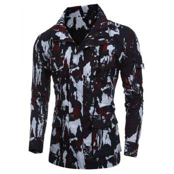 Multi-Pocket Coat Camouflage Drawstring - Rouge 2XL