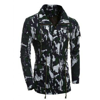 Multi-Pocket Camouflage Drawstring Coat