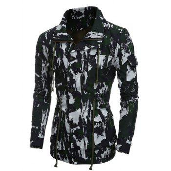 Multi-Pocket Coat Camouflage Drawstring - Vert M