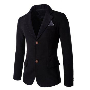 Contrast Button Back Slit Wool Blend Blazer