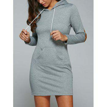 Kangaroo Pocket Hoodie Dress with Elbow Patch