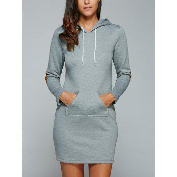Kangaroo Pocket Hoodie Dress with Elbow Patch - BLUE GRAY S