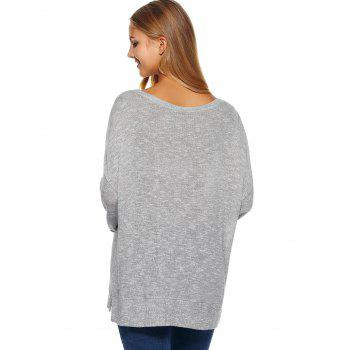 Heart Print Long Sleeve T Shirt - GRAY GRAY