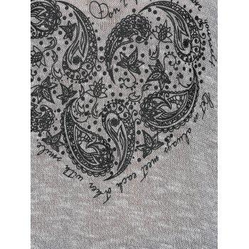 Heart Print Long Sleeve T Shirt - S S
