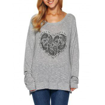 Heart Print Long Sleeve T Shirt - GRAY S