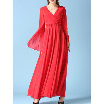 V Neck Slit Sleeve Chiffon Maxi Surplice Dress