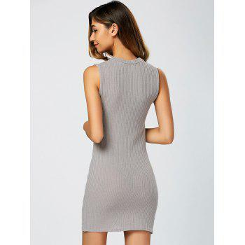 Asymmetric Knitted Sleeveless Jumper Bandage Dress - GRAY GRAY
