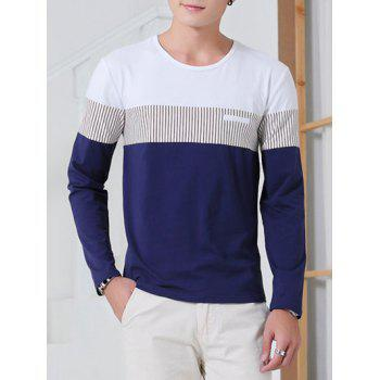 Striped Round Neck Color Splicing Long Sleeve T-Shirt