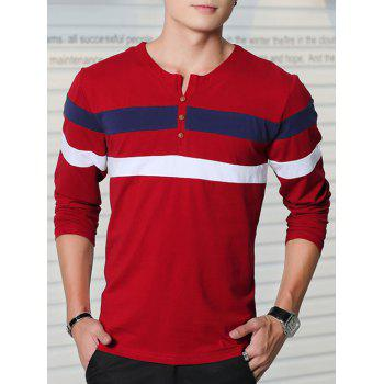 Striped Button Embellished Long Sleeve T-Shirt