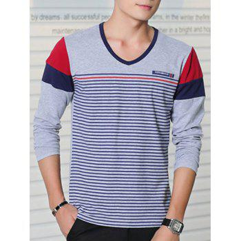 Color Splicing Striped Long Sleeve T-Shirt