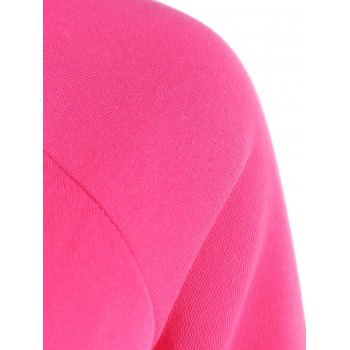 Color Block Raglan Sleeve Hoodie - ROSE MADDER L