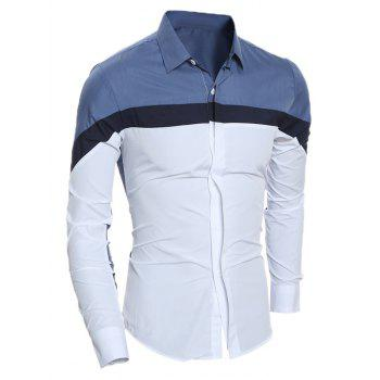 Long Sleeve Color Block Slim Shirt - DENIM BLUE XL