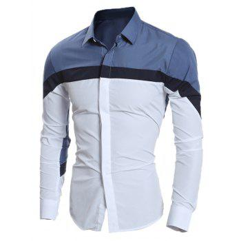 Long Sleeve Color Block Slim Shirt