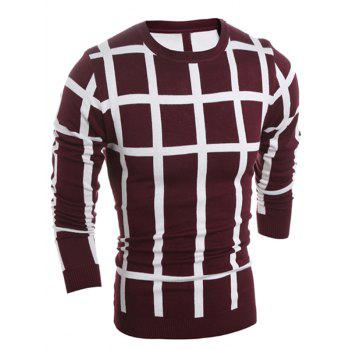 Crew Neck Slim Fit Plaid Sweater