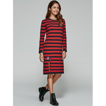 Slit Striped Imprimer Robe en maille - Rouge ONE SIZE