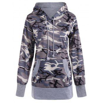 Long Sleeve Drawstring Camo Pullover Hoodie - CAMOUFLAGE CAMOUFLAGE