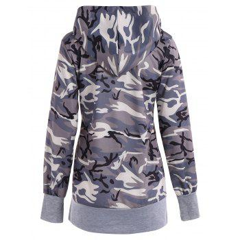 Long Sleeve Drawstring Camo Pullover Hoodie - CAMOUFLAGE XL