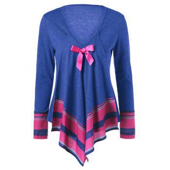 Bowknot Embellished Asymmetrical T-Shirt - BLUE BLUE
