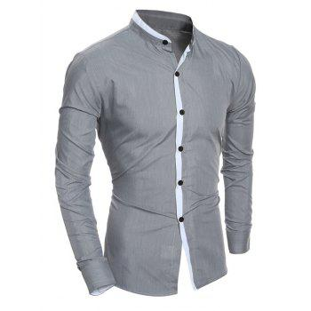 Long Sleeve Color Block Edging Grandad Collar Shirt